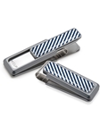 White & Dark Blue Inlay Money Clip  | M-Clip New Money Clip | Sams Tailoring