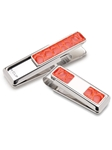 Orange American Alligatoe 2 Pocket Money Clip  | M-Clip New Money Clip | Sams Tailoring