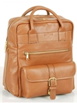 Tan Top Zipper Backpack With Front Pocket | Aston Leather  Men's New Bags 2016 | Sams Tailoring
