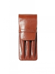 Cognac Three Pen Leather Case | Aston Leather Men's Collection | Sams Tailoring