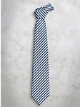 Blue & White Classic Stripes Refined Silk Tie | Italo Ferretti Super Class Collection | Sam's Tailoring