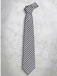 Black & White Classic Stripes Refined Silk Tie | Italo Ferretti Super Class Collection | Sam's Tailoring