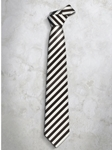 Brown & White Classic Stripes Refined Silk Tie | Italo Ferretti Super Class Collection | Sam's Tailoring