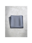 Blue & Grey Stripes Design Silk Satin Men's Handkerchief | Italo Ferretti Super Class Collection | Sam's Tailoring