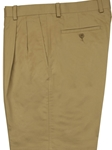 "Khaki ""Pima"" Pleated Short - Stretch Cotton 