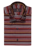 Robert Talbott Brown with Multi-Colored Horizontal Stripe Design Crespi III Sport Shirt TSM35103-01 - Spring 2016 Collection Sport Shirts | Sam's Tailoring Fine Men's Clothing