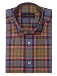 Robert Talbott Yellow with Orange and Blue Plaid Check Design Crespi III Sport Shirt TSM35132-01 - Spring 2016 Collection Sport Shirts | Sam's Tailoring Fine Men's Clothing