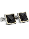 Silver Onyx Cuff Links | Hickey FreeMan Cufflinks | Sams Tailoring