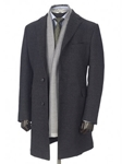 Charcoal Double Faced Zelander Traveler Overcoat | Hickey FreeMan Overcoats | Sams Tailoring