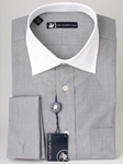 Hart Schaffner Marx Grey End on End Stripe Dress Shirt 5F329550 - Shirts | Sam's Tailoring Fine Men's Clothing
