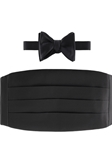 Black Solid Cummerbund with to be Tied Bow Tie | Robert Talbott Formal Wear   | Sam's Tailoring