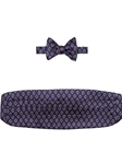Navy with Yellow and Rust Medallion Cummerbund with Self Tie Bow Tie | Robert Talbott Formal Wear   | Sam's Tailoring