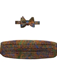 Rust, Green and Blue Paisley Cummerbund with Self Tie Bow Tie | Robert Talbott Formal Wear   | Sam's Tailoring