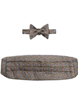 Brown With Blue and Pink Medallion Cummerbund with Self Tie Bow Tie | Robert Talbott Formal Wear   | Sam's Tailoring