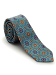 Aqua, Navy, and Orange Medallion Welch Margetson Best of Class Tie | Robert Talbott Spring 2017 Collection | Sam's Tailoring