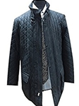 Navy Blue Quilted Leather Oiled Nubuck Jacket | Robert Comstock Leather Jackets | Sam's Tailoring