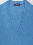 Light Blue Perth V-Neck Sweater  |  Aristo 18 Sweater Collection | Sam's Tailoring Fine Men Clothing