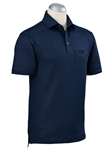 Summer Navy Linen Jacquard Short Sleeve Pocket Polo| Bobby Jones Spring 2017  Collection | Sams Tailoring