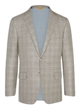 Grey/Tan Plaid Wool Silk Traveler Jacket | Hickey FreeMan Spring Collection 2017 | Sams Tailoring
