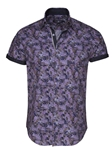 Purple Tropical Stripe Short Sleeve Button Up Shirt | Stone  Rose New Arrivals | Sams Tailoring Fine Men Clothing