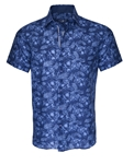 Navy Tropical Leaf Linen Button Up Short Sleeve Shirt | Stone  Rose New Arrivals | Sams Tailoring Fine Men Clothing