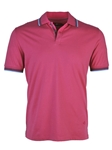 Magenta Solid Blue Tipping Jersey Polo | Stone  Rose New Arrivals | Sams Tailoring Fine Men Clothing