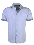 Sky Blue Knit Short Sleeve Button Up Shirt | Stone  Rose New Arrivals | Sams Tailoring Fine Men Clothing