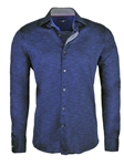 Navy Light Frame Knit Long Sleeve Button Up Shirt | Stone  Rose New Arrivals | Sams Tailoring Fine Men Clothing