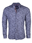 Navy Paisley Knit Long Sleeve Button Up Shirt | Stone  Rose New Arrivals | Sams Tailoring Fine Men Clothing