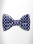 Grey and Blue Patterned Silk Bow Tie | Italo Ferretti Spring Summer Collection | Sam's Tailoring