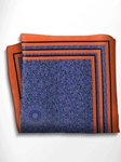 Orange and Blue Patterned Silk Pocket Square | Italo Ferretti Spring Summer Collection | Sam's Tailoring
