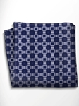 Blue and Silver Patterned Silk Pocket Square | Italo Ferretti Spring Summer Collection | Sam's Tailoring