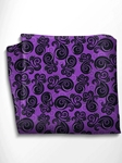 Black and Violet Patterned Silk Pocket Square | Italo Ferretti Spring Summer Collection | Sam's Tailoring