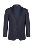 Navy Jacquard Wool Silk Dinner Jacket | Hickey Freeman Summer Blends Collection | Sam's Tailoring
