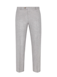 Light Grey Twill Wool Silk Flat Front Trouser | Hickey Freeman Summer Blends Collection | Sam's Tailoring