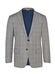Grey Plaid Super 130's Wool Traveler Jacket| Hickey Freeman Traveler Collection | Sam's Tailoring