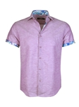 Purple Soft Linen Short Sleeve Button Up Shirt | Stone  Rose New Arrivals | Sams Tailoring Fine Men Clothing