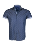 Denim Geometric Short Sleeve Button Up Shirt | Stone  Rose New Arrivals | Sams Tailoring Fine Men Clothing