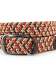 Red/Camel Multi Italian Woven Rayon Elastic Belt |  Torino leather Spring 2017 | Sam's Tailoring