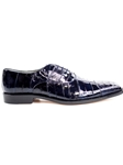 Navy Genuien Eel and Ostrich Mare Shoe | Belvedere Spring 2017 Collection | Sams Tailoring