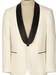 Ivory With Black Satin Shawl Collar Classic Fit Dinner Jacket | HardWick Dinner Jackets | Sams Tailoring Fine Men Clothing