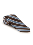 Brown, Blue and White Stripe Heritage Best of Class Tie | Spring/Summer Collection | Sam's Tailoring Fine Men Clothing