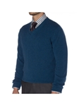 Turquoise Spencer Jersey V-Neck Sweater | Robert Talbott Fall 2017 Collection | Sam's Tailoring Fine Mens Clothing