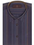 Navy, Brown and Blue Stripe Classic Sport Shirt | Robert Talbott Sport Shirts Collection  | Sam's Tailoring Fine Men Clothing