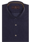 Navy with Stripes Crespi IV Tailored Sport Shirt | Robert Talbott Sport Shirts Collection  | Sam's Tailoring Fine Men Clothing