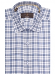 White & Blue Plaid Crespi III Tailored Sport Shirt | Robert Talbott Sport Shirts Collection  | Sam's Tailoring Fine Men Clothing