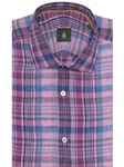Pink, Sky & Navy Plaid Crespi III Tailored Sport Shirt | Robert Talbott Sport Shirts Collection  | Sam's Tailoring Fine Men Clothing