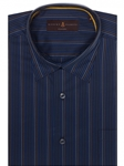 Navy and Blue Stripe Anderson II Classic Sport Shirt | Robert Talbott Sport Shirts Collection  | Sam's Tailoring Fine Men Clothing