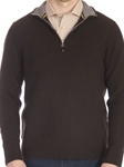 Dark Brown South Beach ¼ Zip Mock Neck Sweater | Robert Talbott Fall 2017 Collection | Sam's Tailoring Fine Mens Clothing