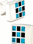 IKE Behar Turquoise and Onyx Identity Cufflinks IB-23-GL - Cufflinks | Sam's Tailoring Fine Men's Clothing